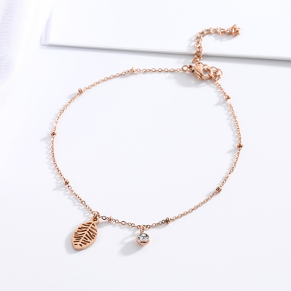 This is the rose gold with zircon Anklet.
