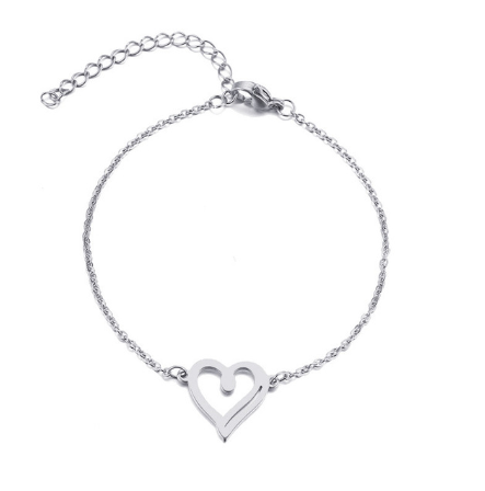 This is a steel hollow heart bracelet.