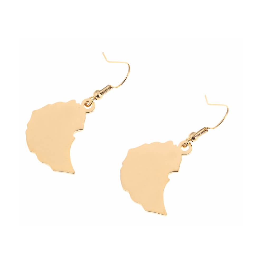 This is a pair of Ethiopia map earrings.