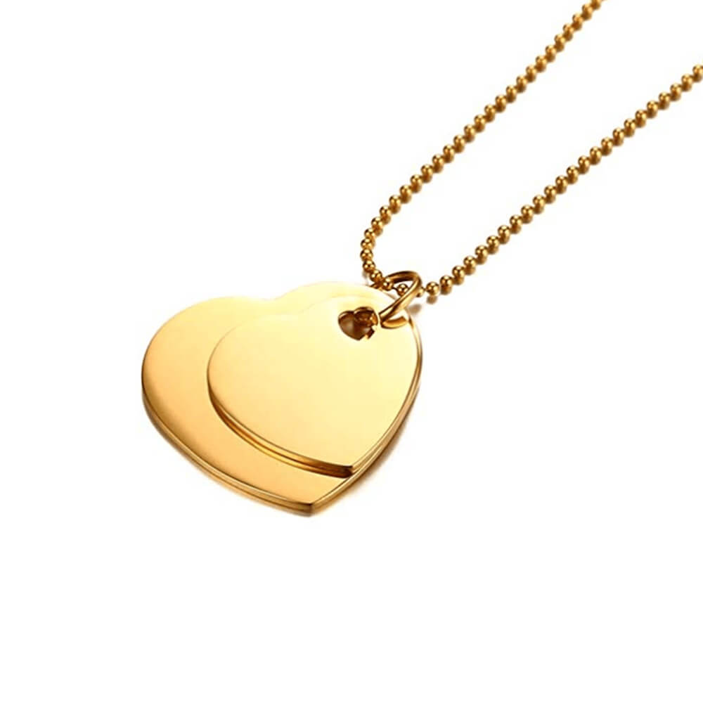 Gold color double heart pendant neckalce