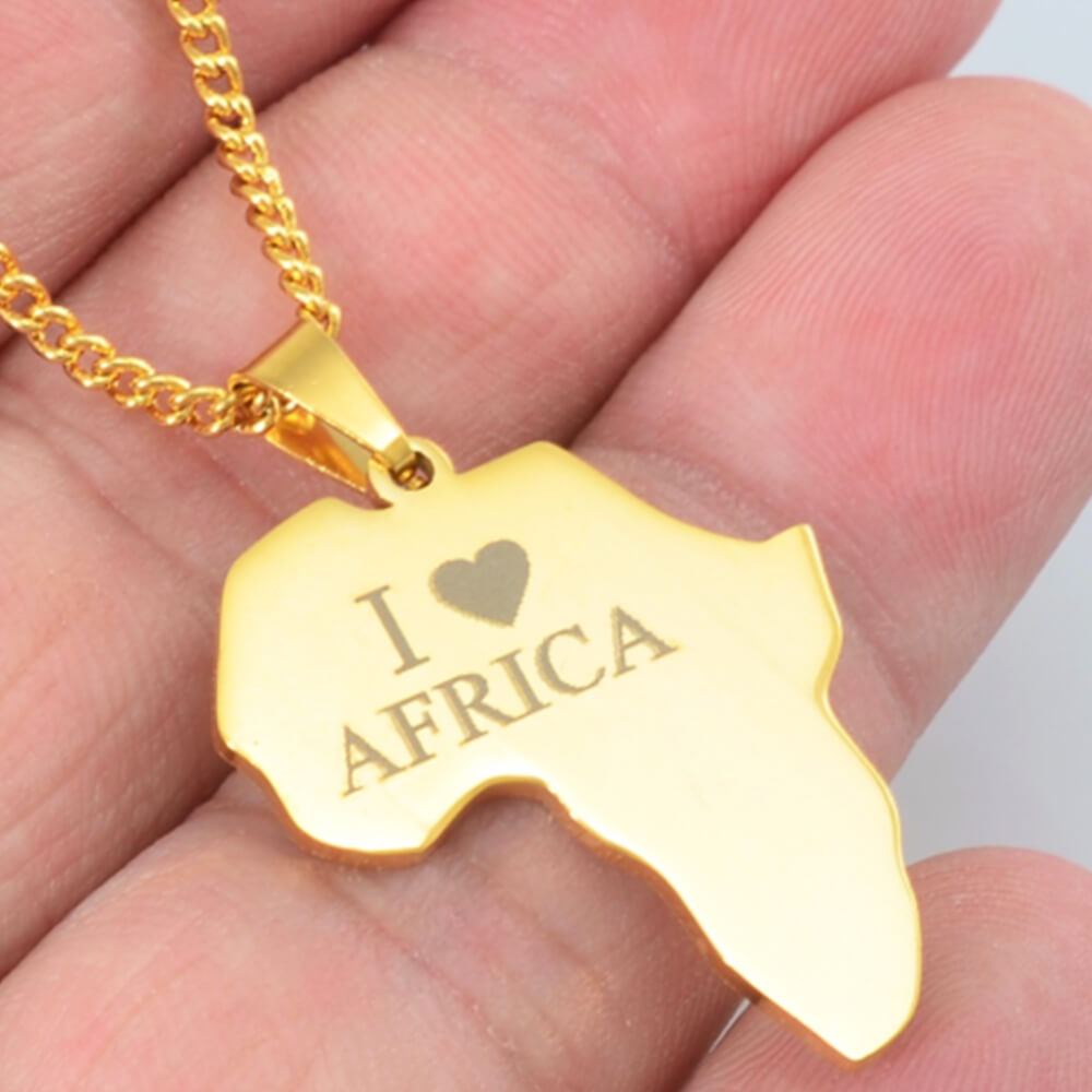Gold color Custom letter Africa map Necklace