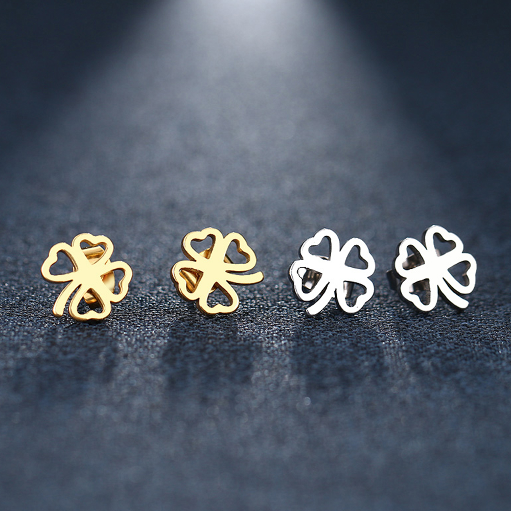 There are two pairs of clover earrings.