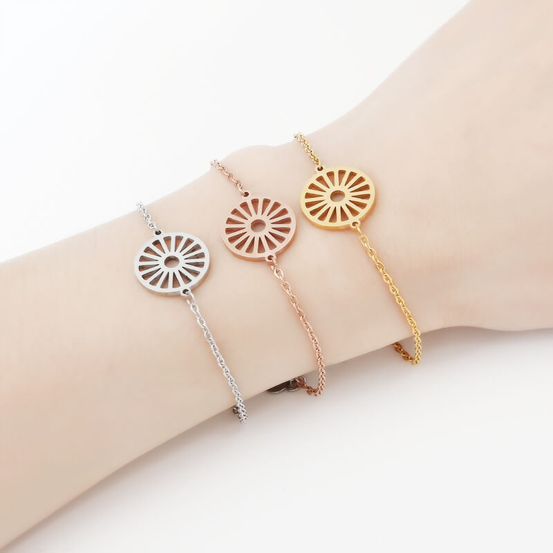There are three colors wheel charm bracelets.