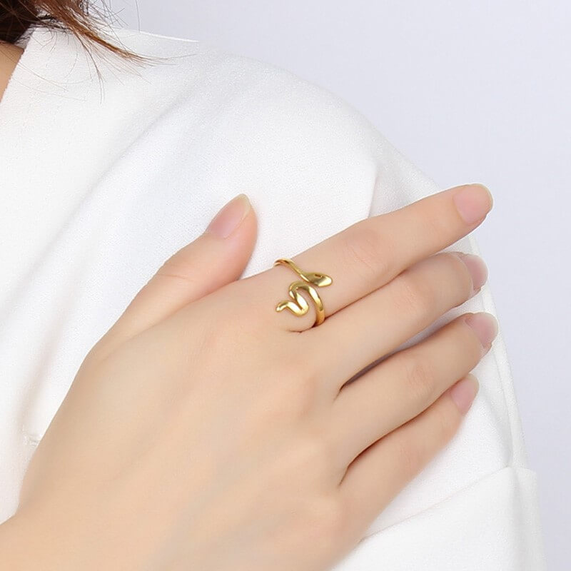 This is gold snake shaped ring.