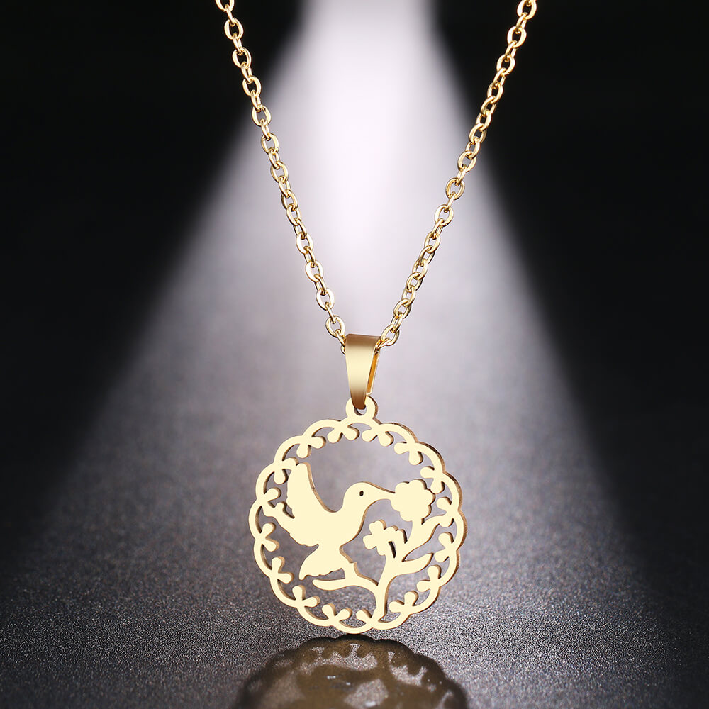 This is bird kissing flower pendant necklace.