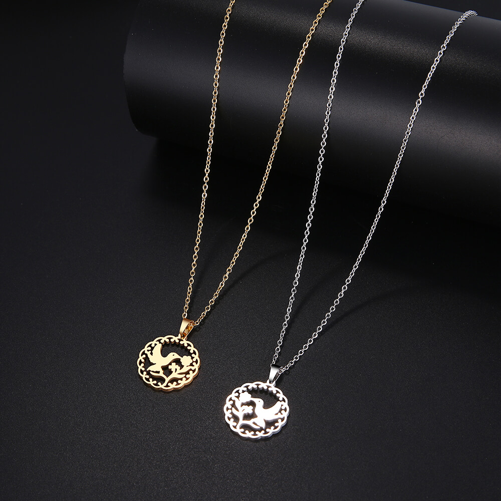 They are bird kissing flower pendant necklace.