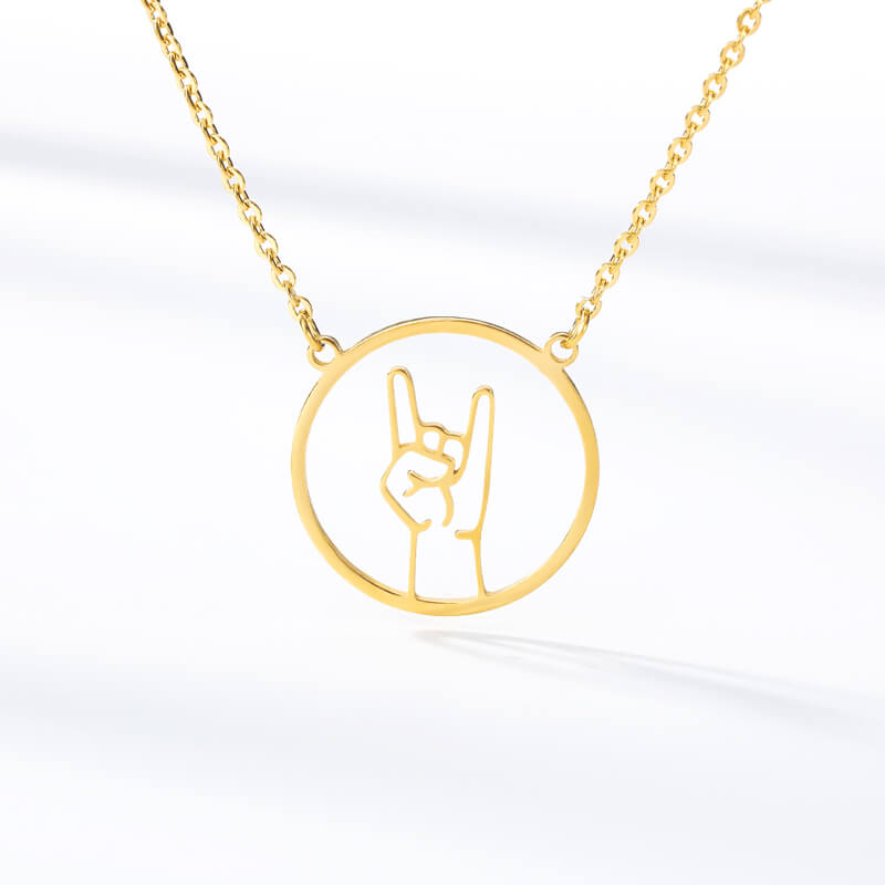 This is gesture shaped disc necklace.