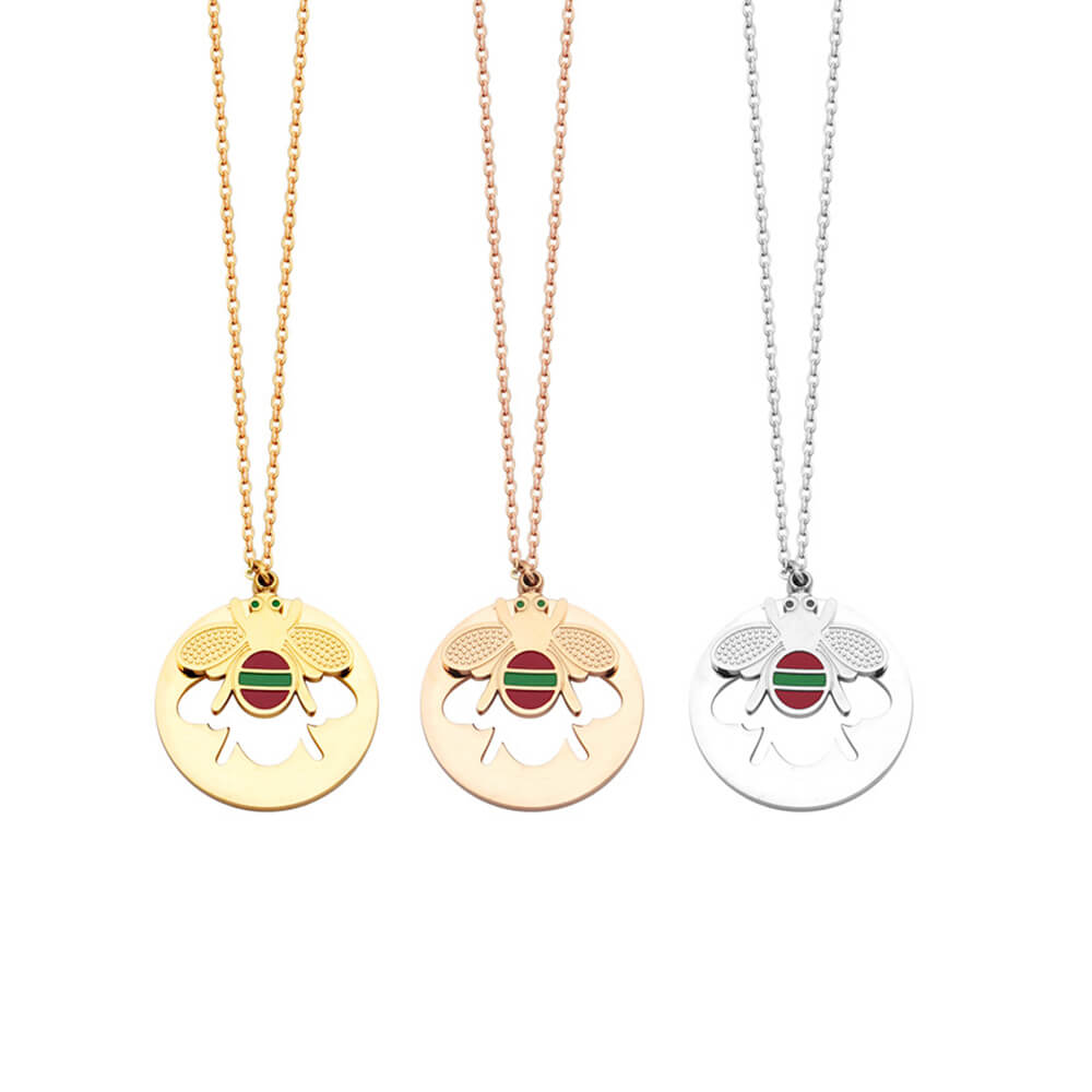 Three Color Honey Queen Bee Circle Necklace