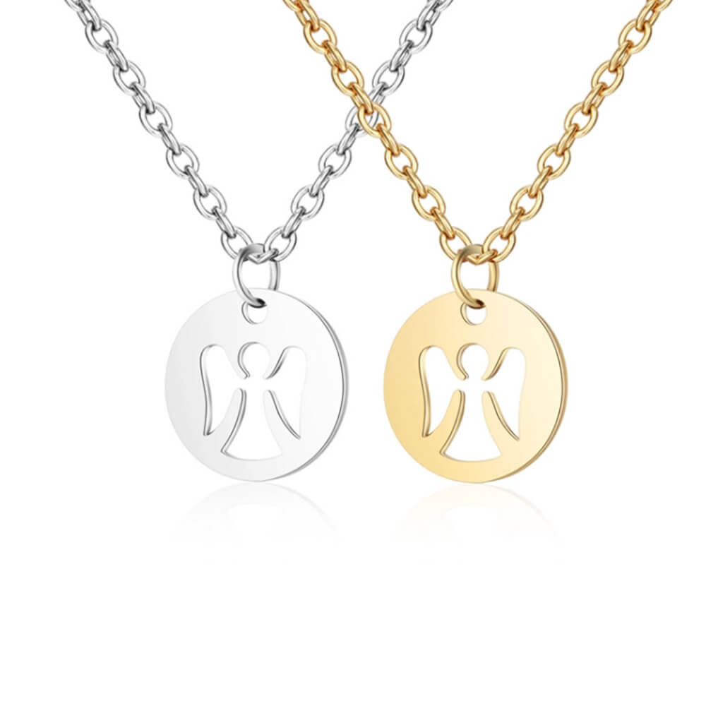 Two Colors Angel Pendant Necklace