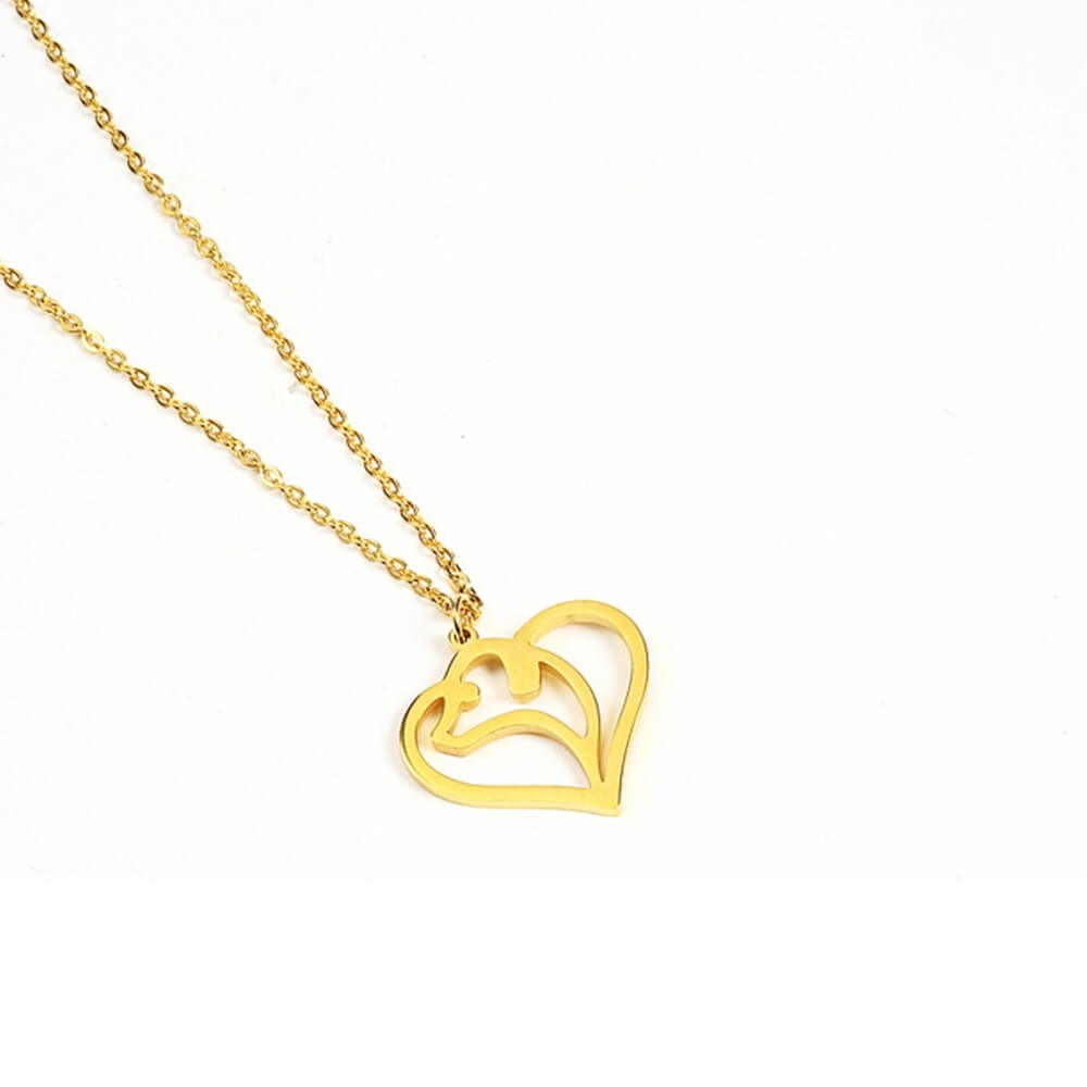 Gold Color Heart Shape Dolphin Necklace