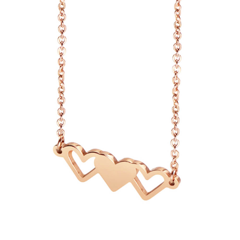Gold Color Blank Heart Pendant Necklace