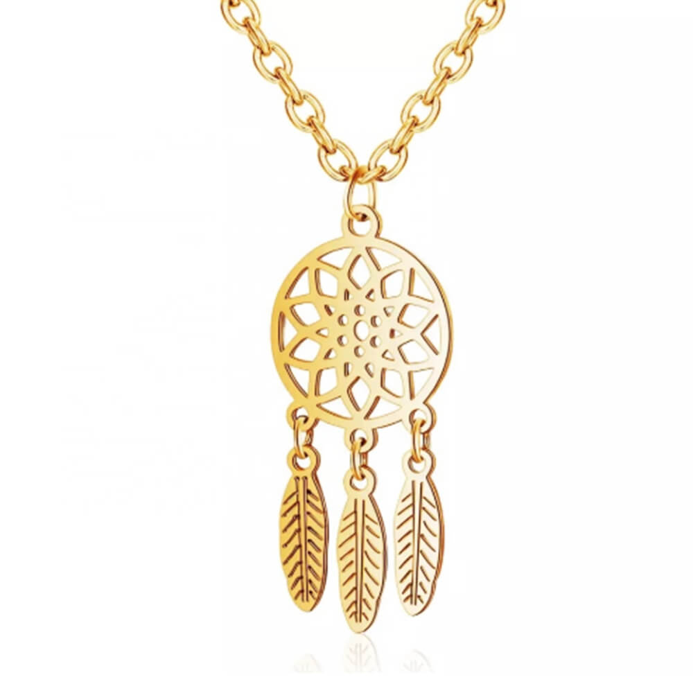 Gold Color Dream Catcher Necklace Jewelry