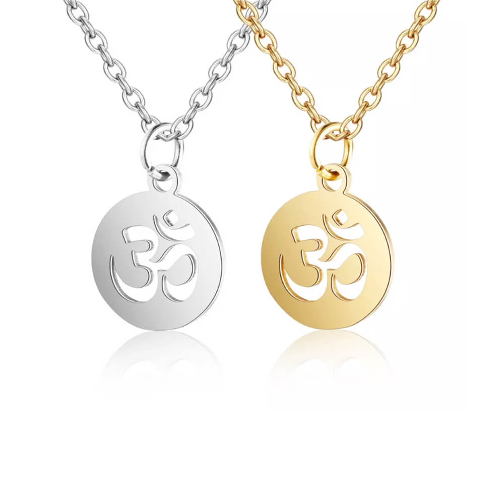Two Colors Initial Disc Coin Necklace