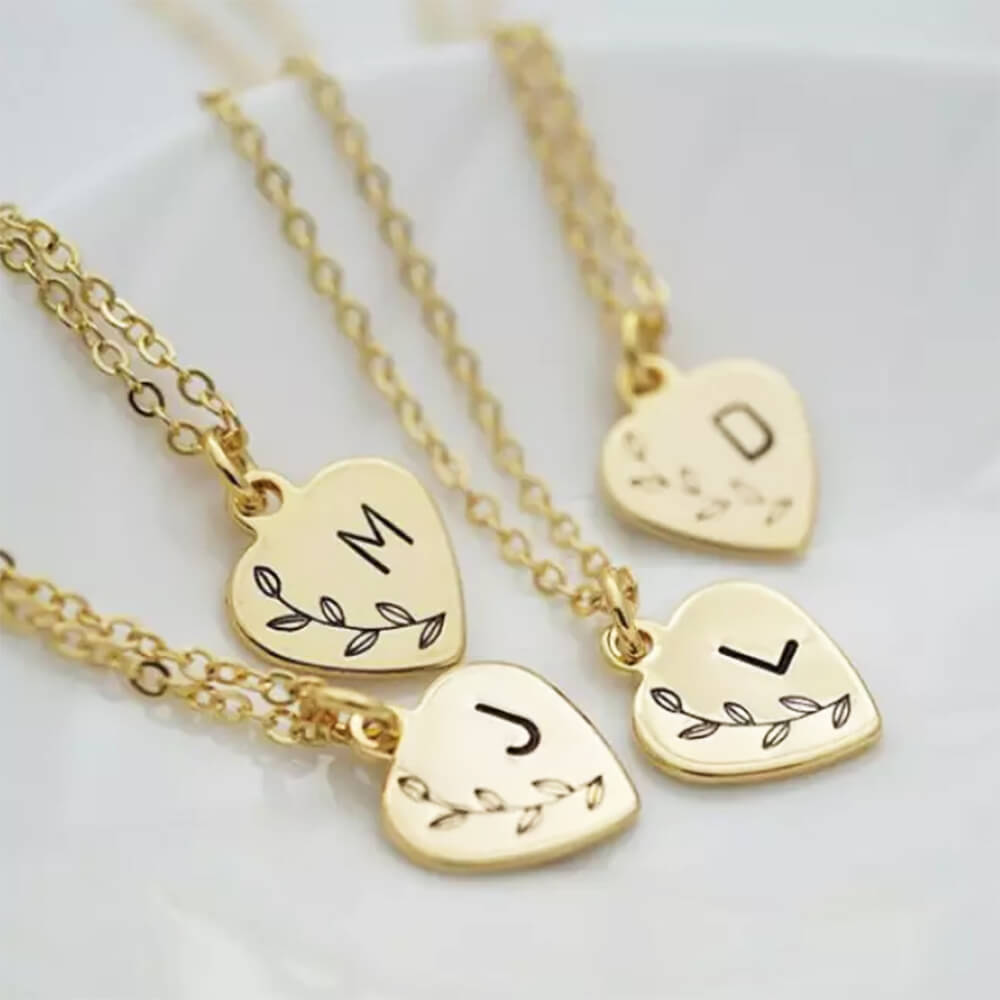 Four gold colors heart necklace