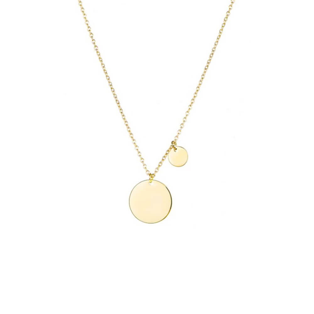 Gold color round disc pendant necklace