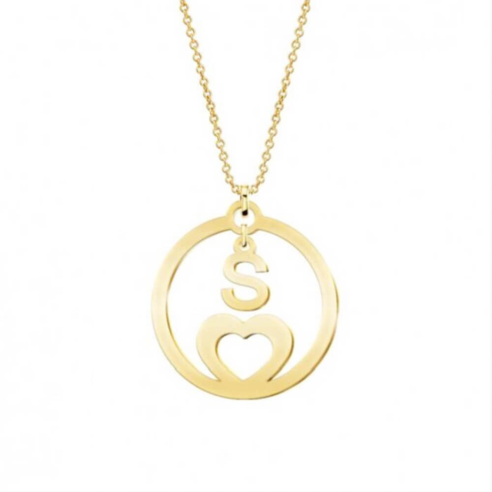 Gold Color Hollow Letter S Coin necklace
