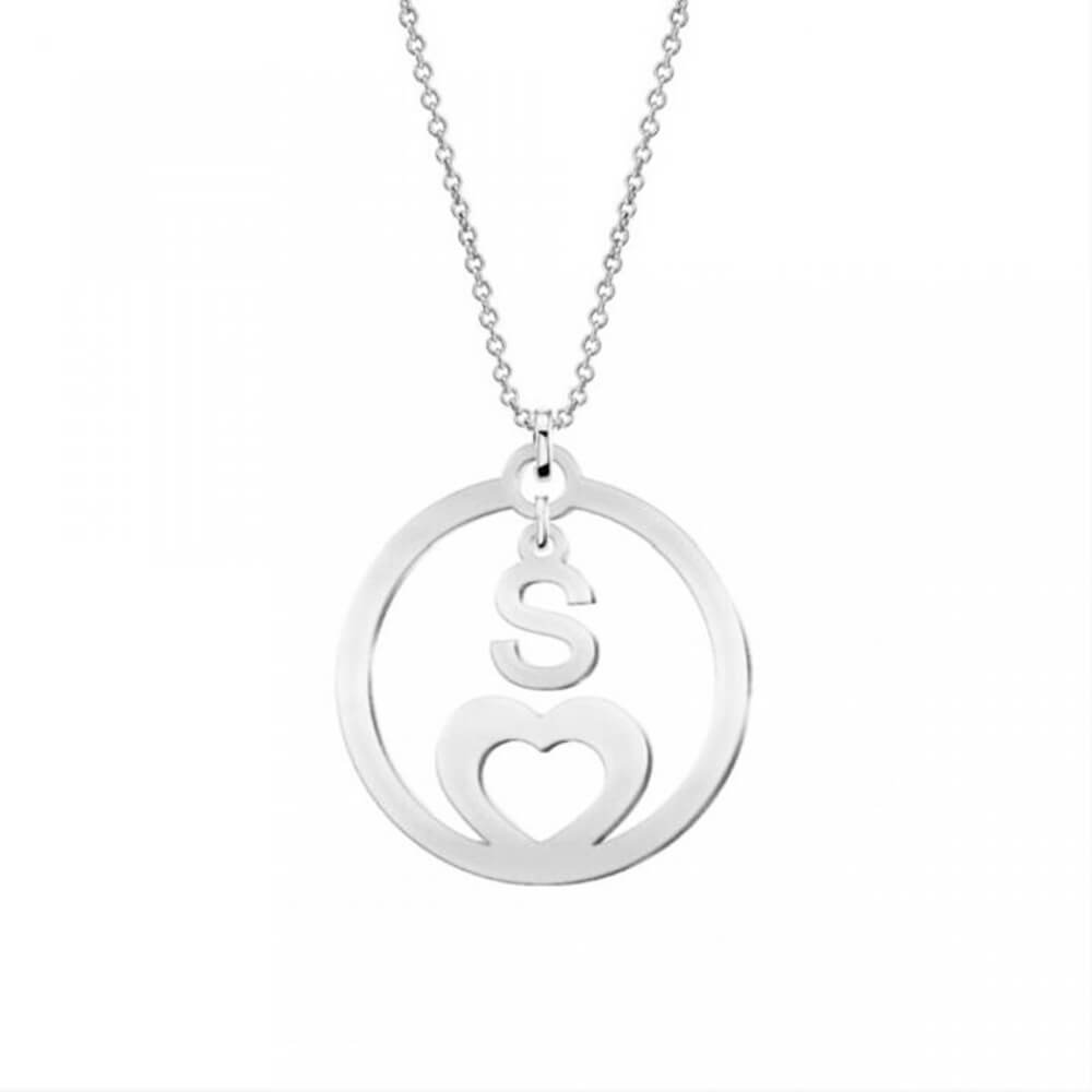Silver Color Hollow Letter S Coin necklace