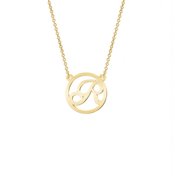 Gold Color Round Letter Necklace