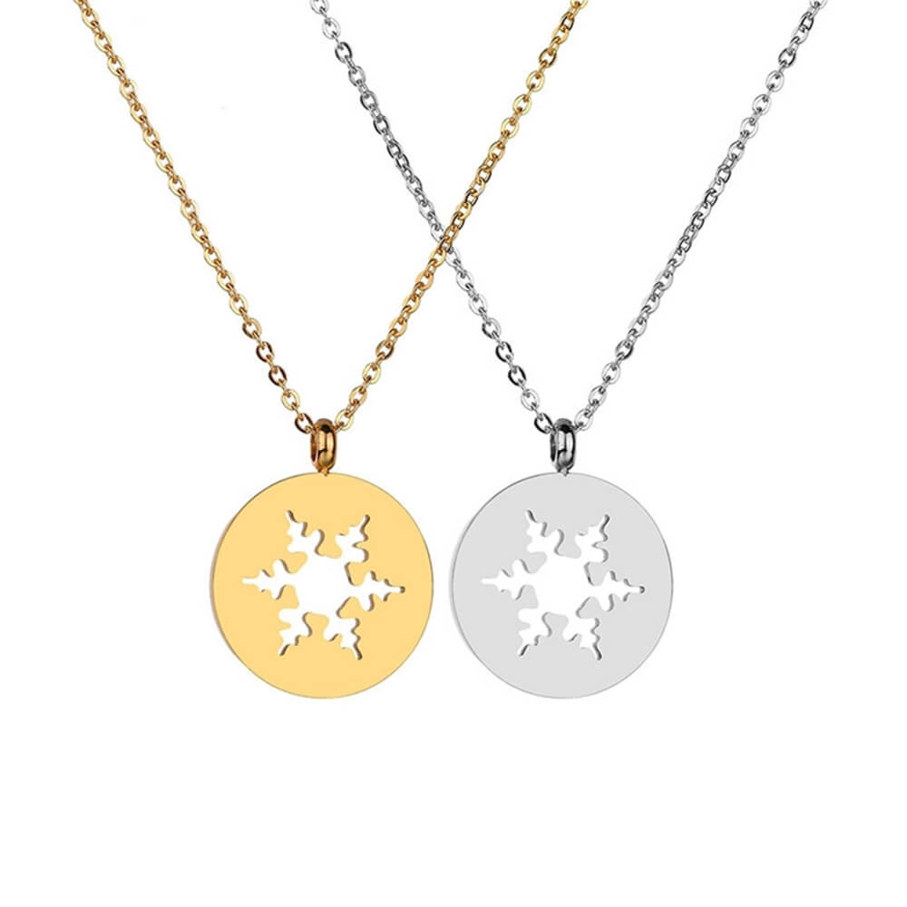 Two Colors Snowflake Pendant Necklace