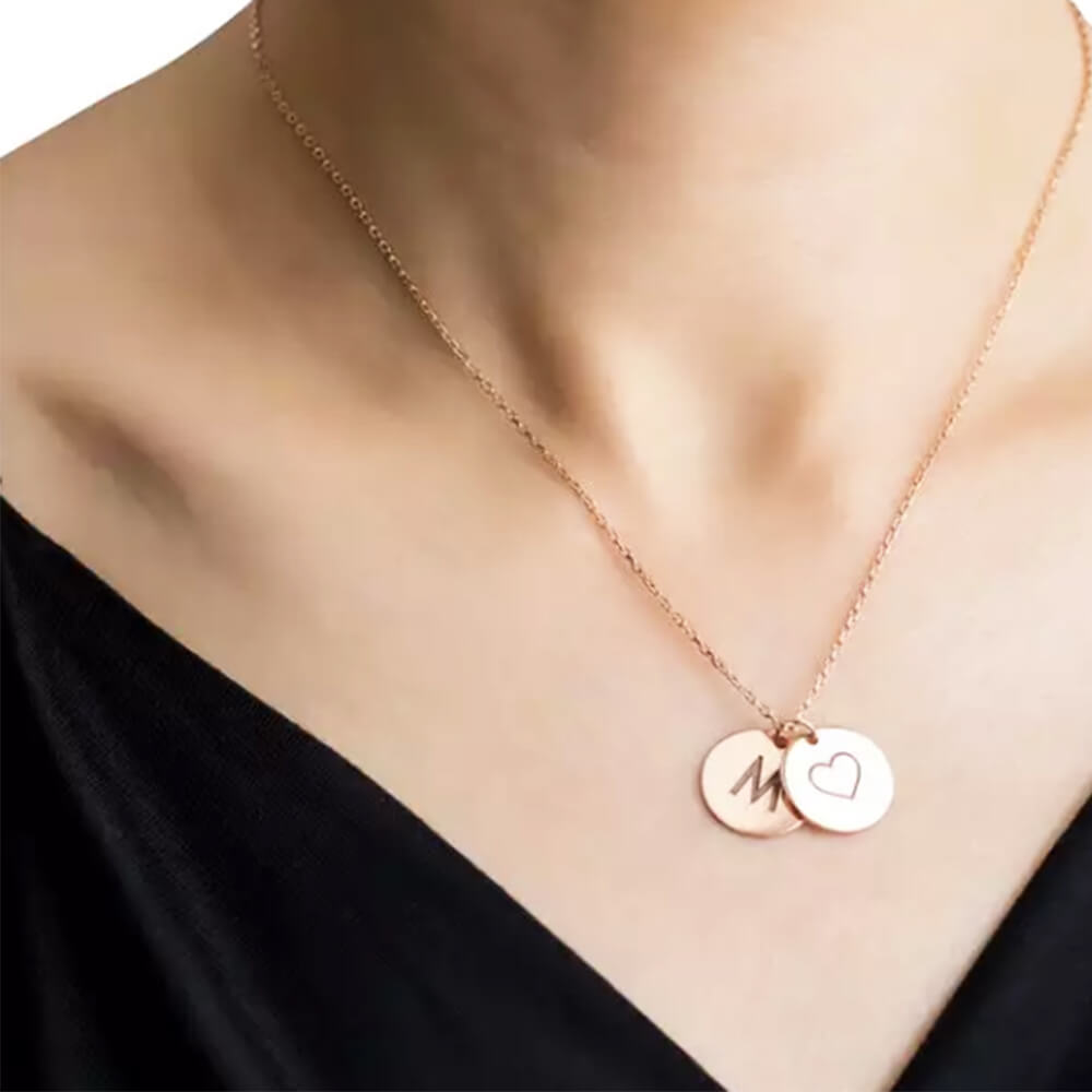 Rose Gold Color Letter Heart Round Necklace