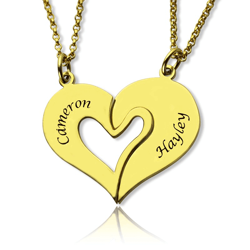 Gold Color 2 Half Heart Necklace