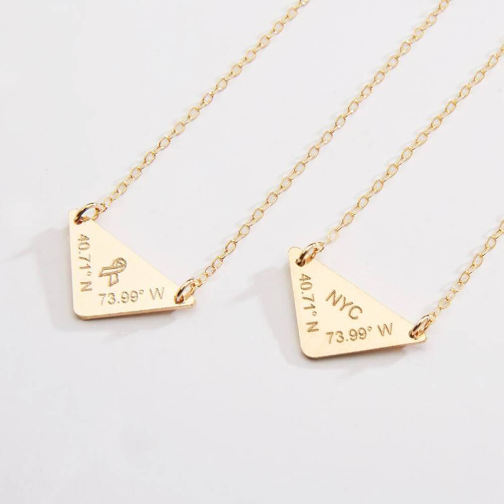 Gold Color Triangle Engraved Logo Necklace