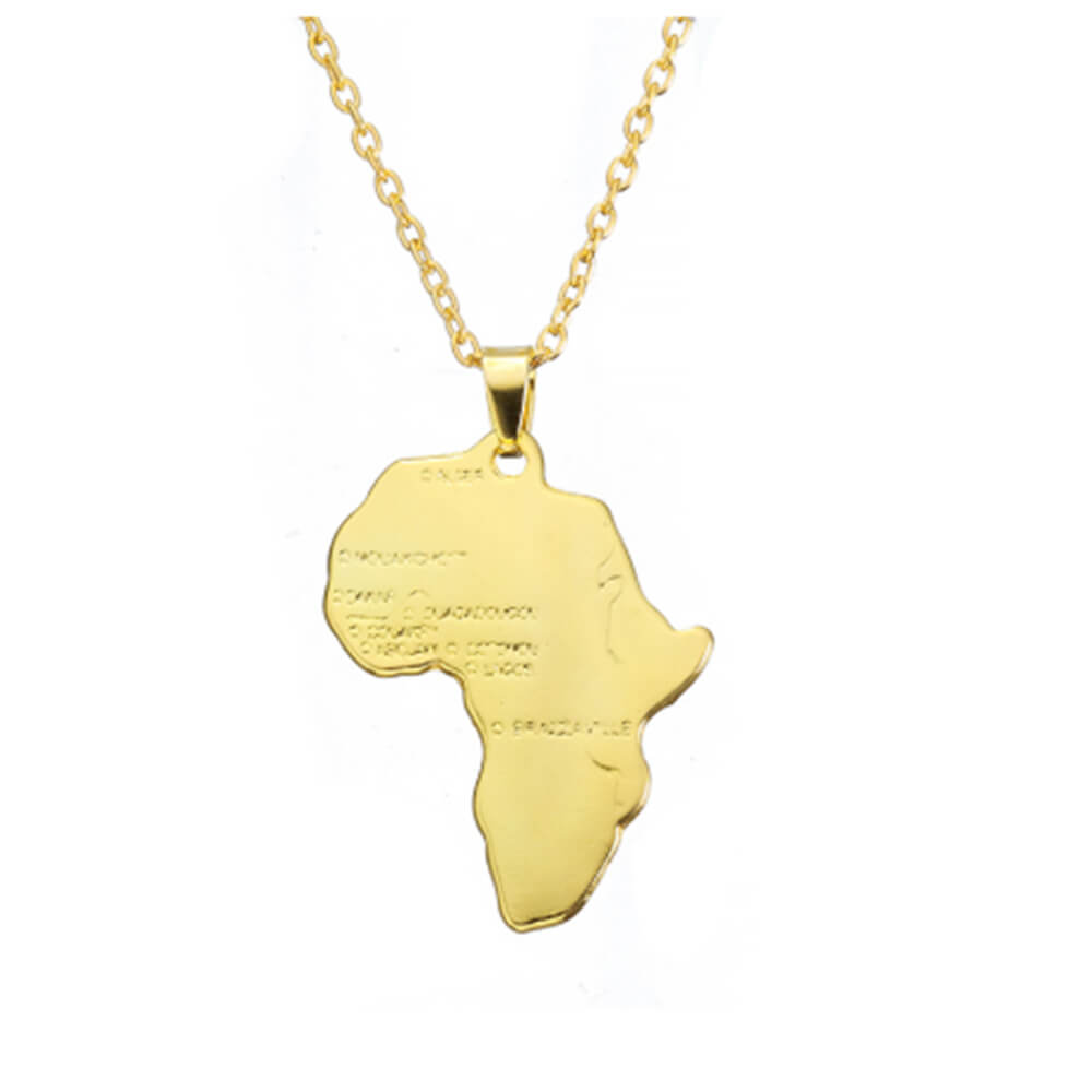 This is a gold African necklace.