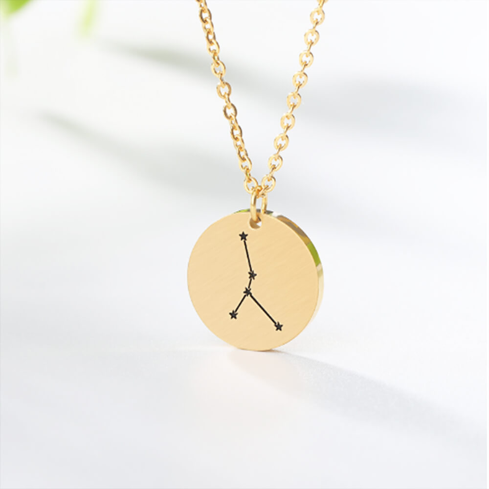 This is gold color zodiac necklace.
