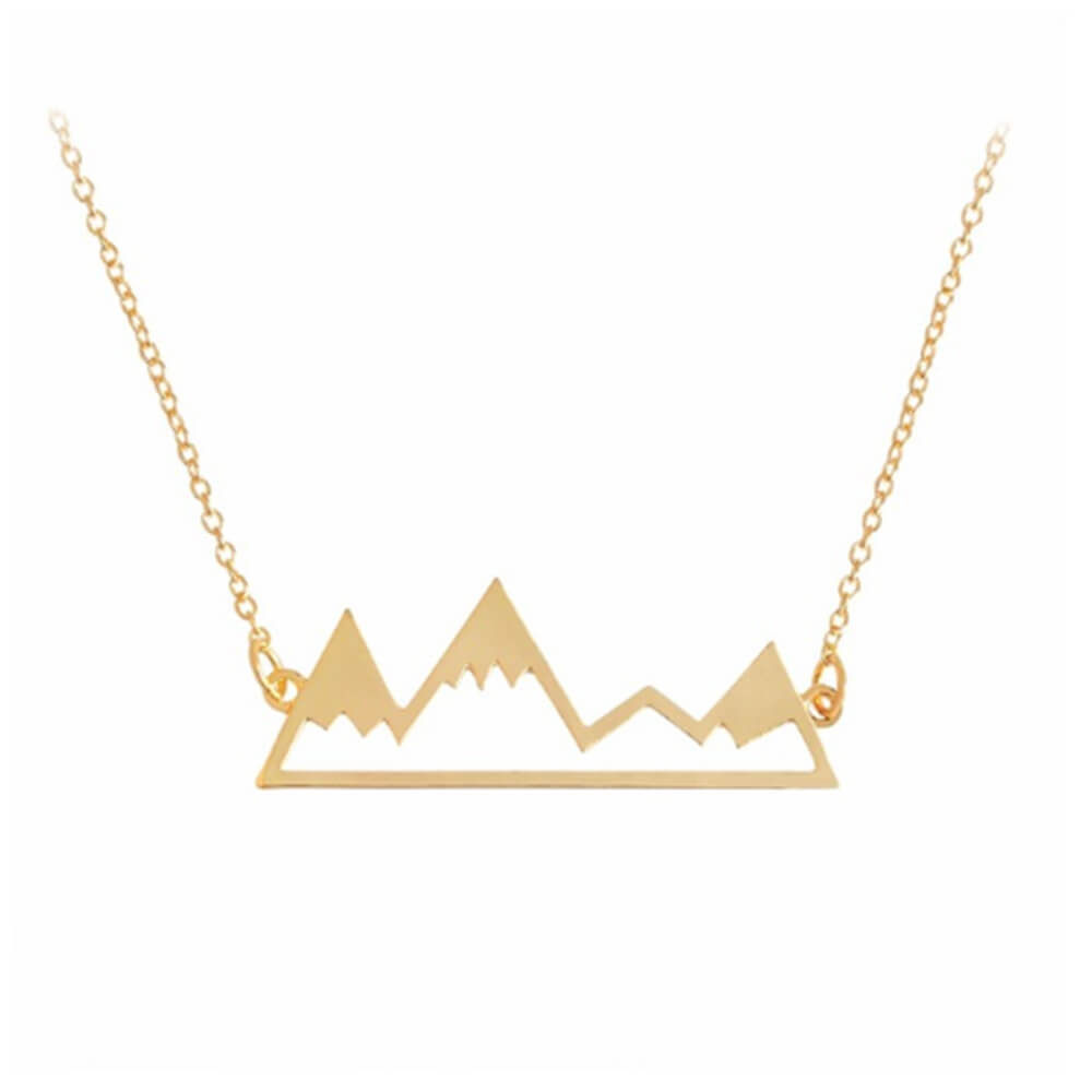 This is a gold mountain necklace.