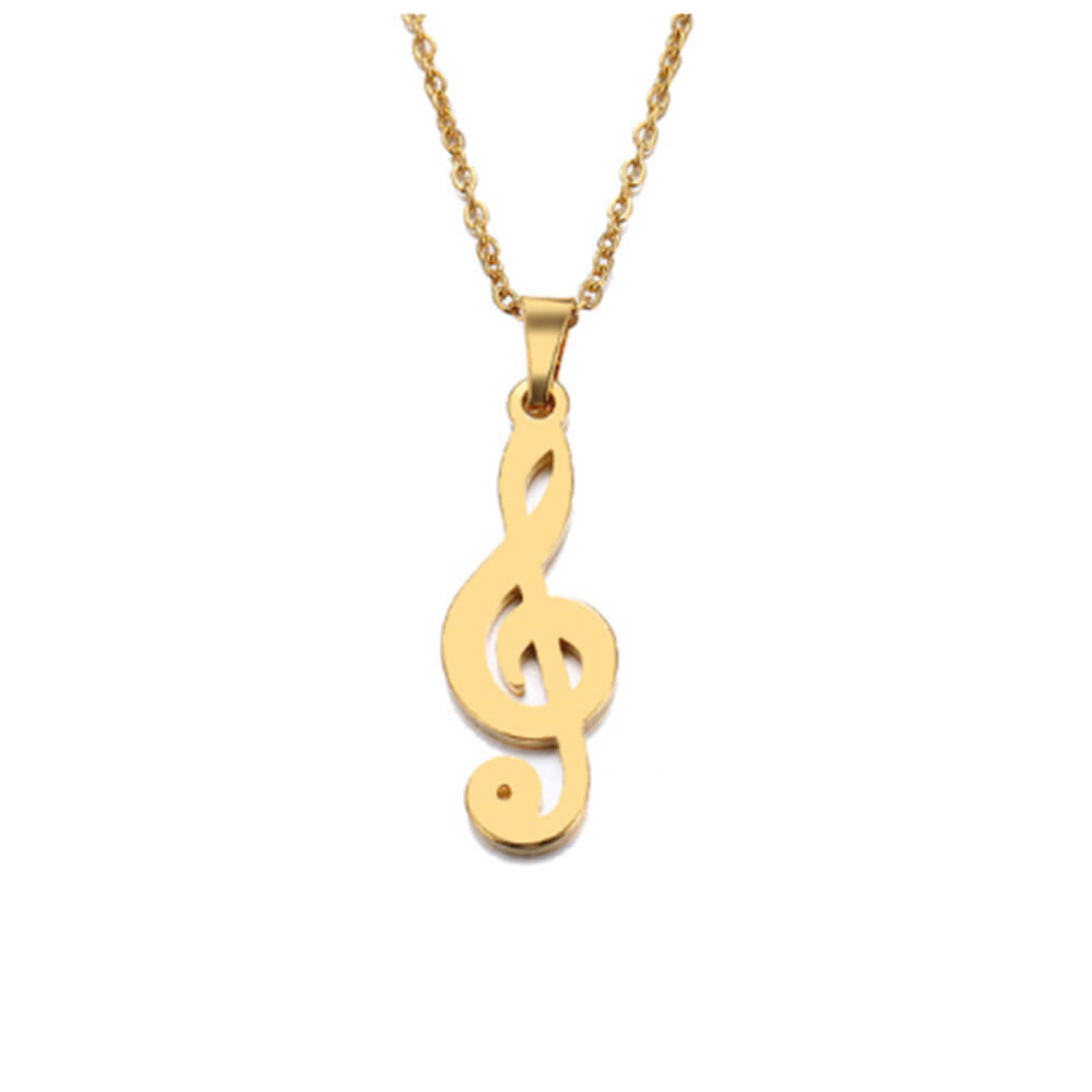 This is a gold music necklace.