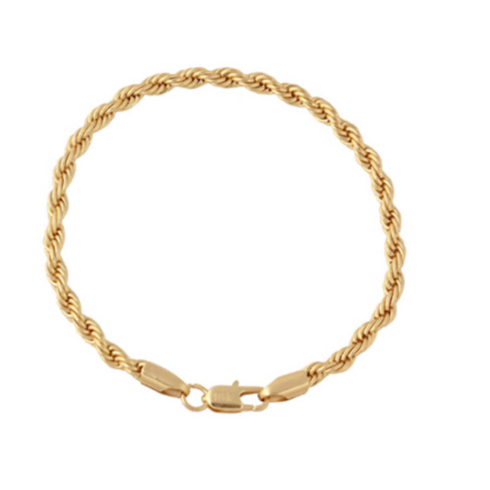 This is a gold twist chain bracelet.