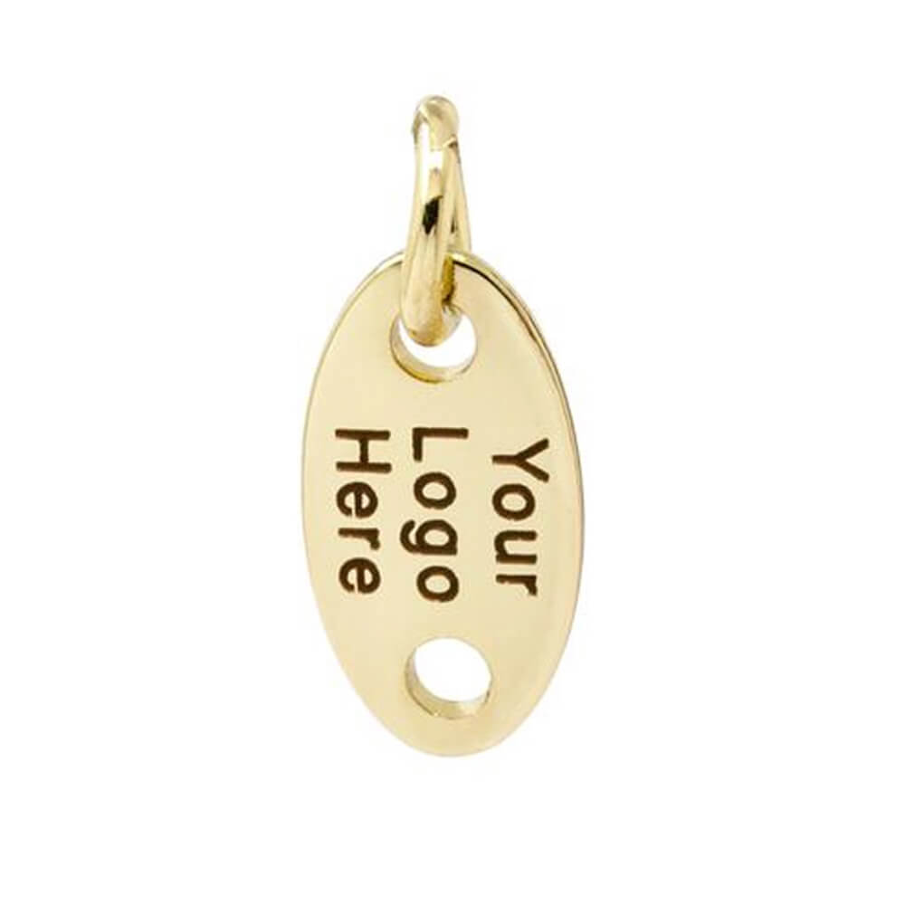 Gold Color Stamped Jewelry Oval Tags