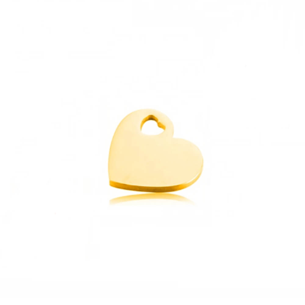 Gold Color Heart Blanks Charms