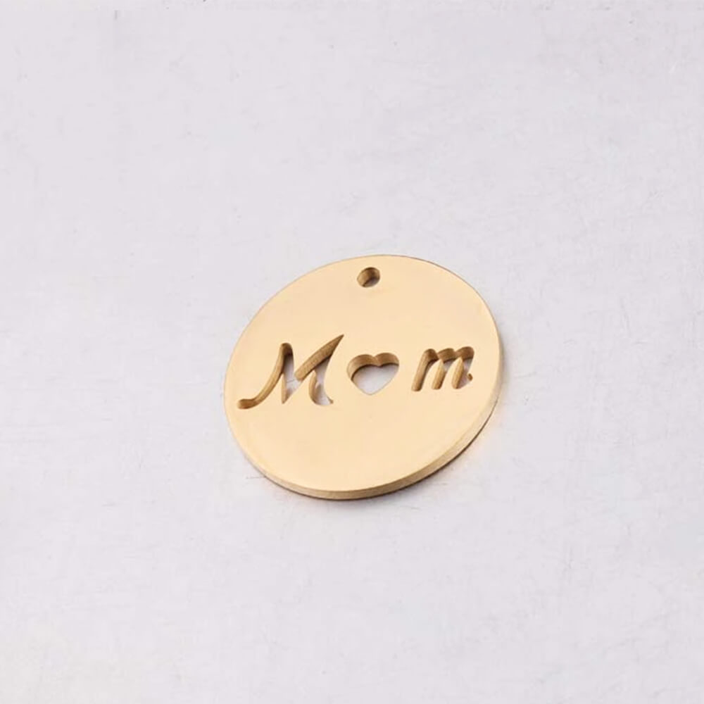 Gold Color Disc letter Circle Pendant
