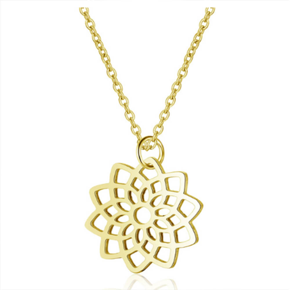 This is lotus pendant necklace.