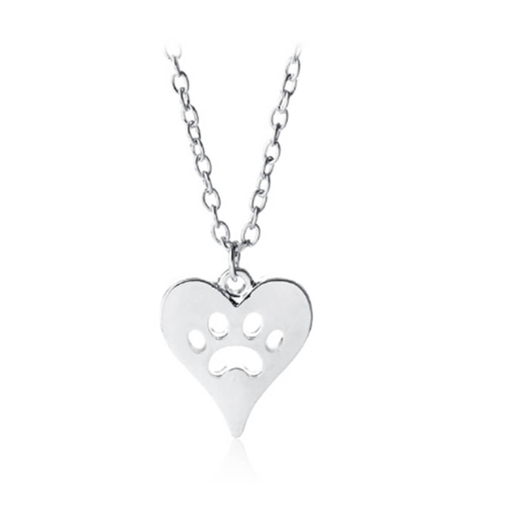 This is a pet paw heart pendant necklace.