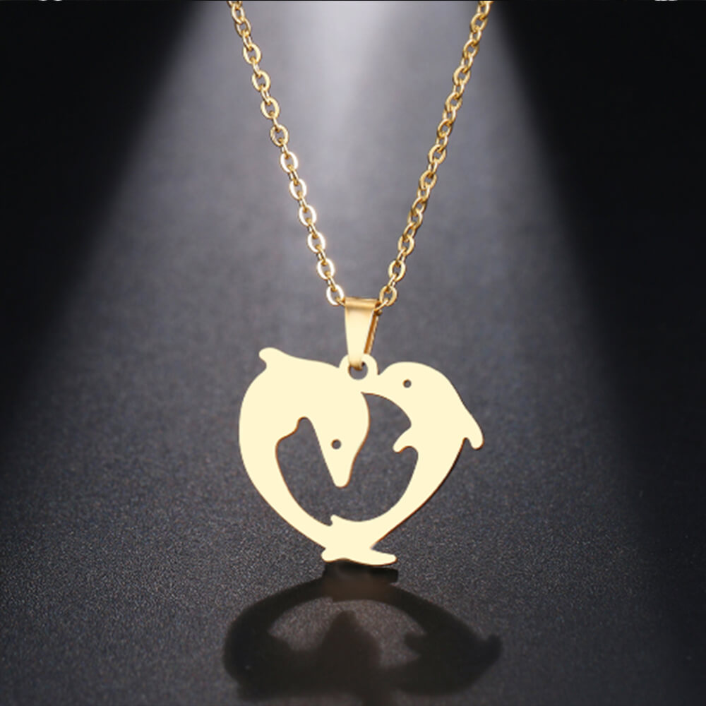 This is two dolphins necklace.