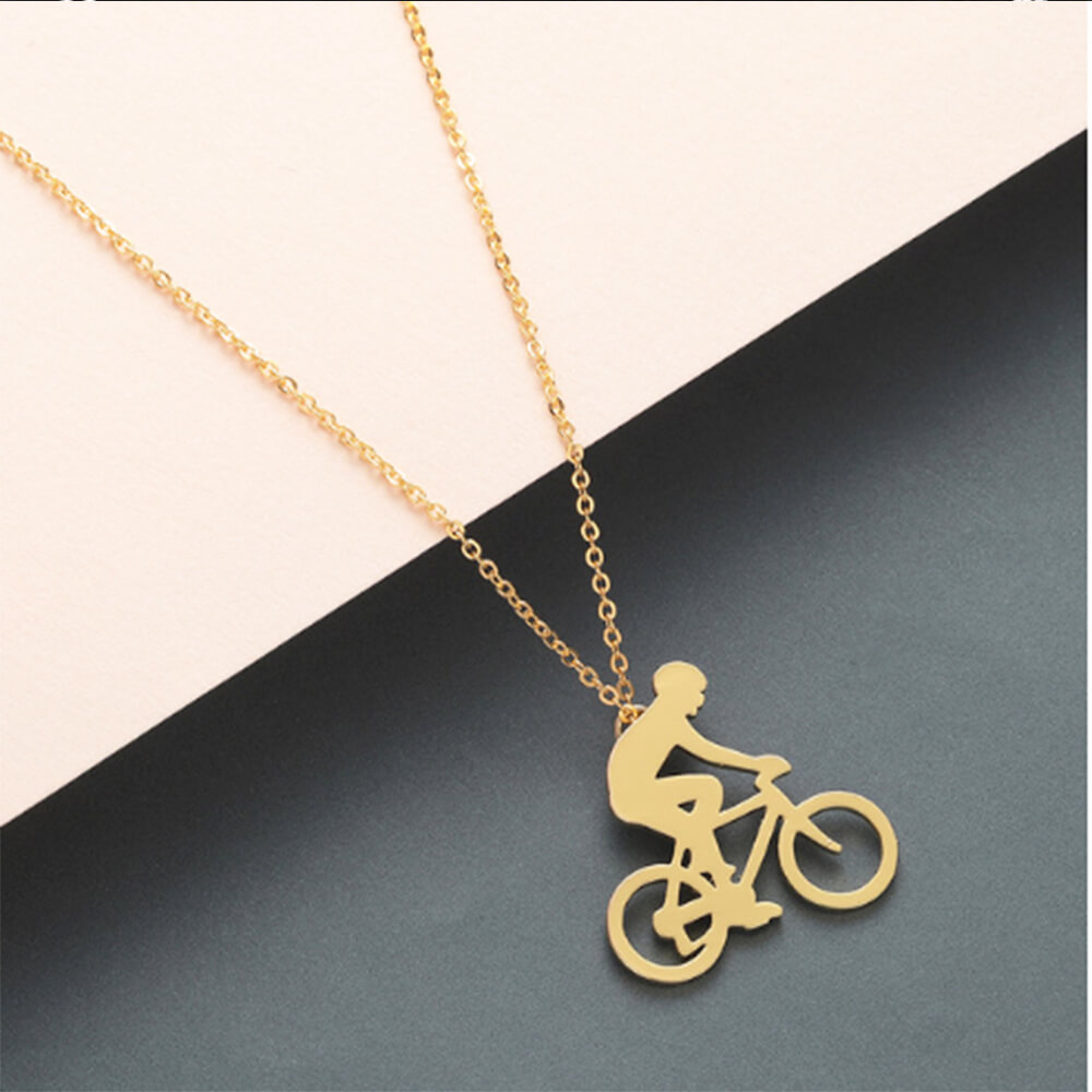This is bike pendant necklace.