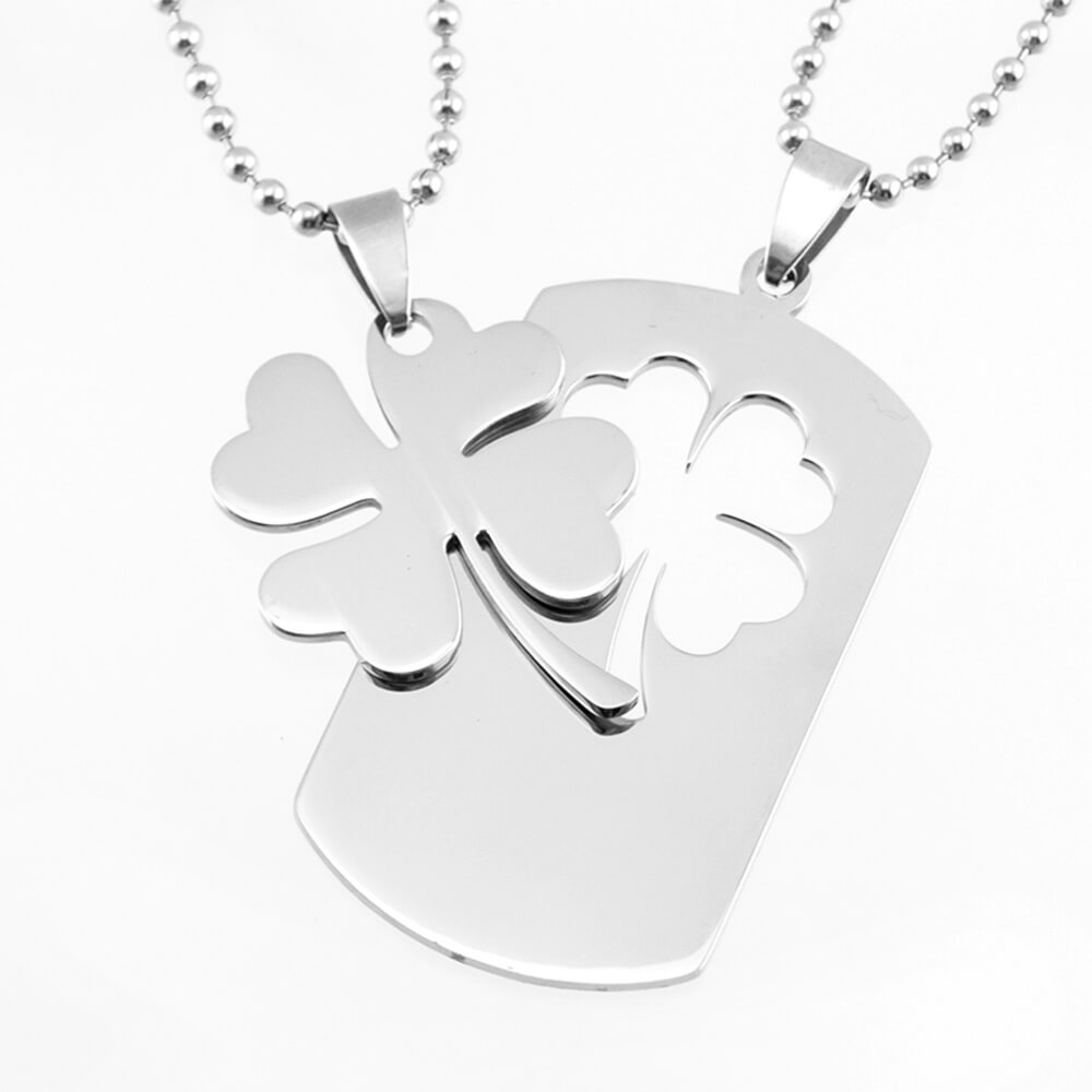 This is a four-leaf clover pendant necklace.
