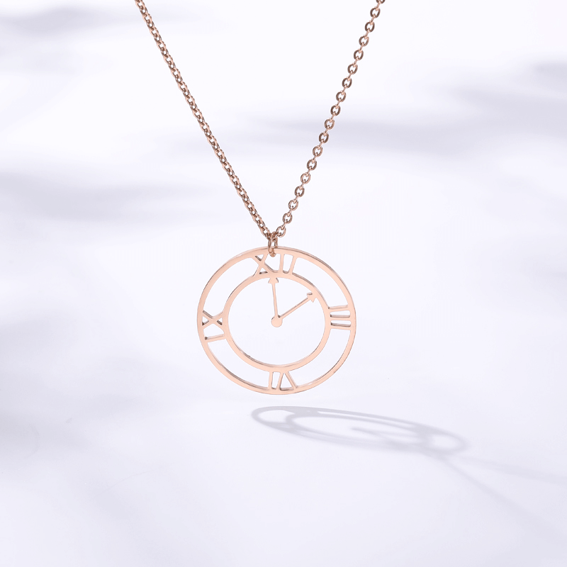 This is a clock necklace.