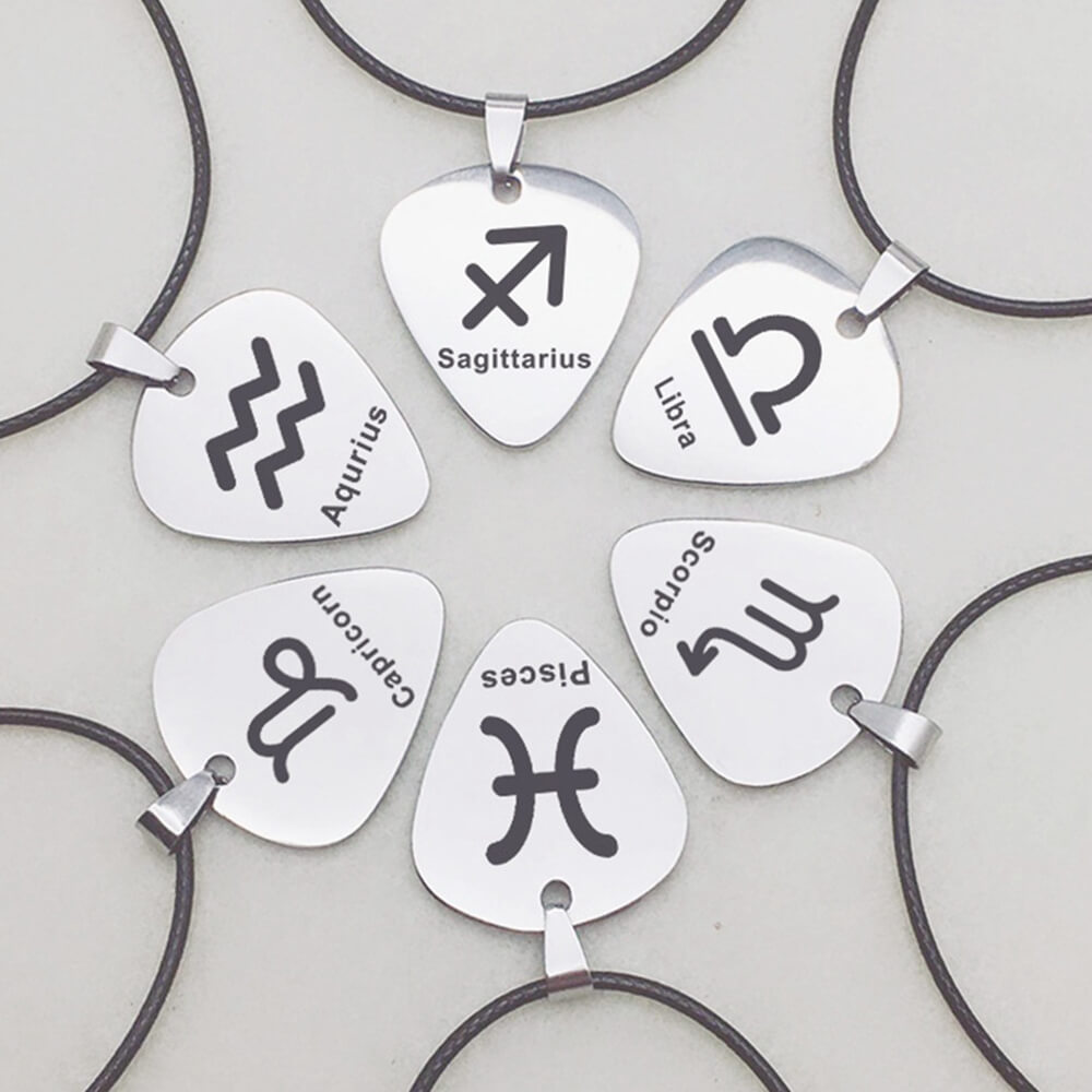 They are guitar zodiac pendant Necklaces.