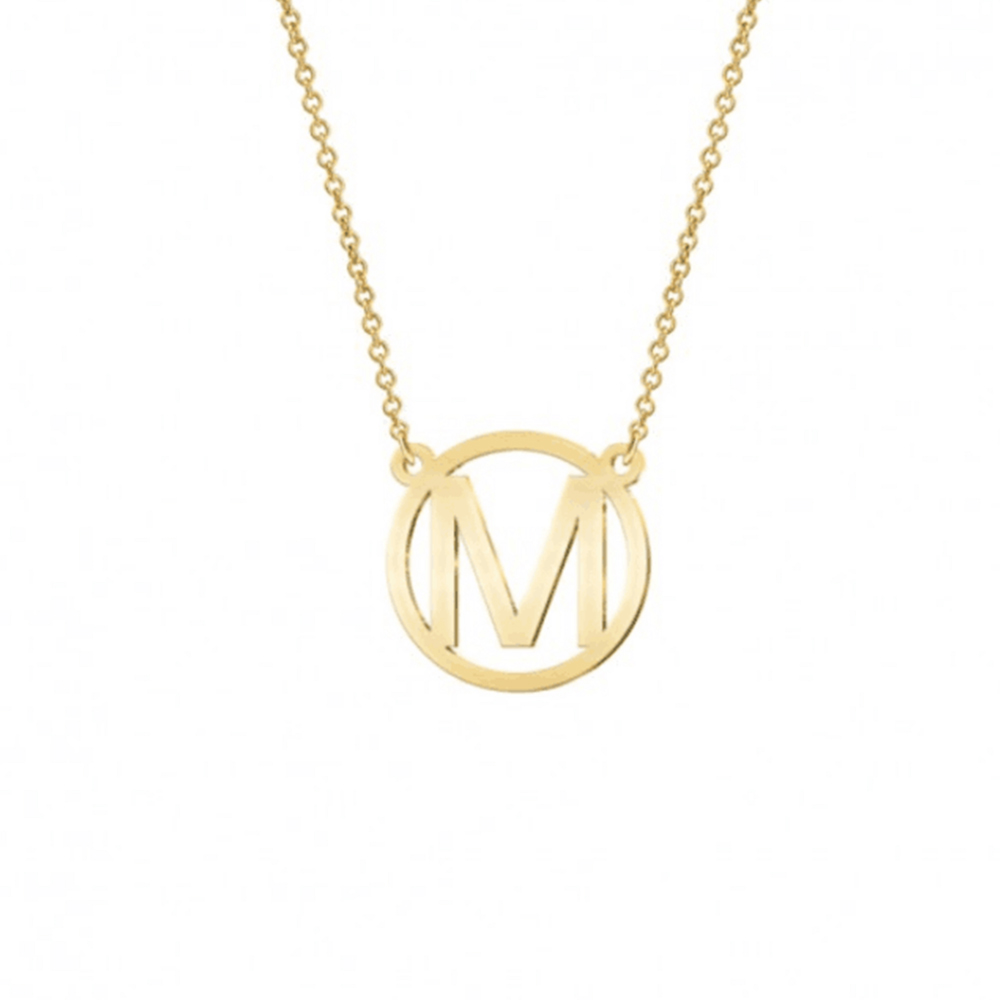 Gold color Round Letter M Coin Necklace