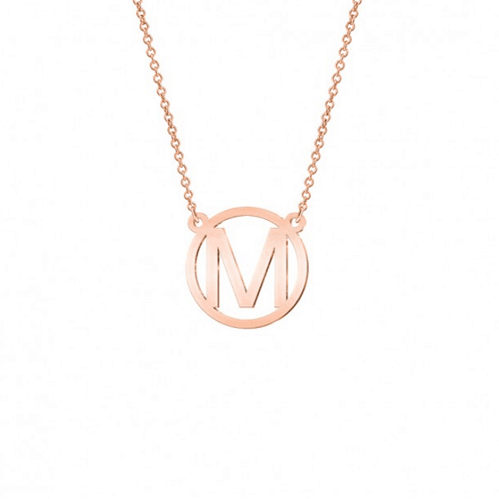 Rose Gold color Round Letter M Coin Necklace