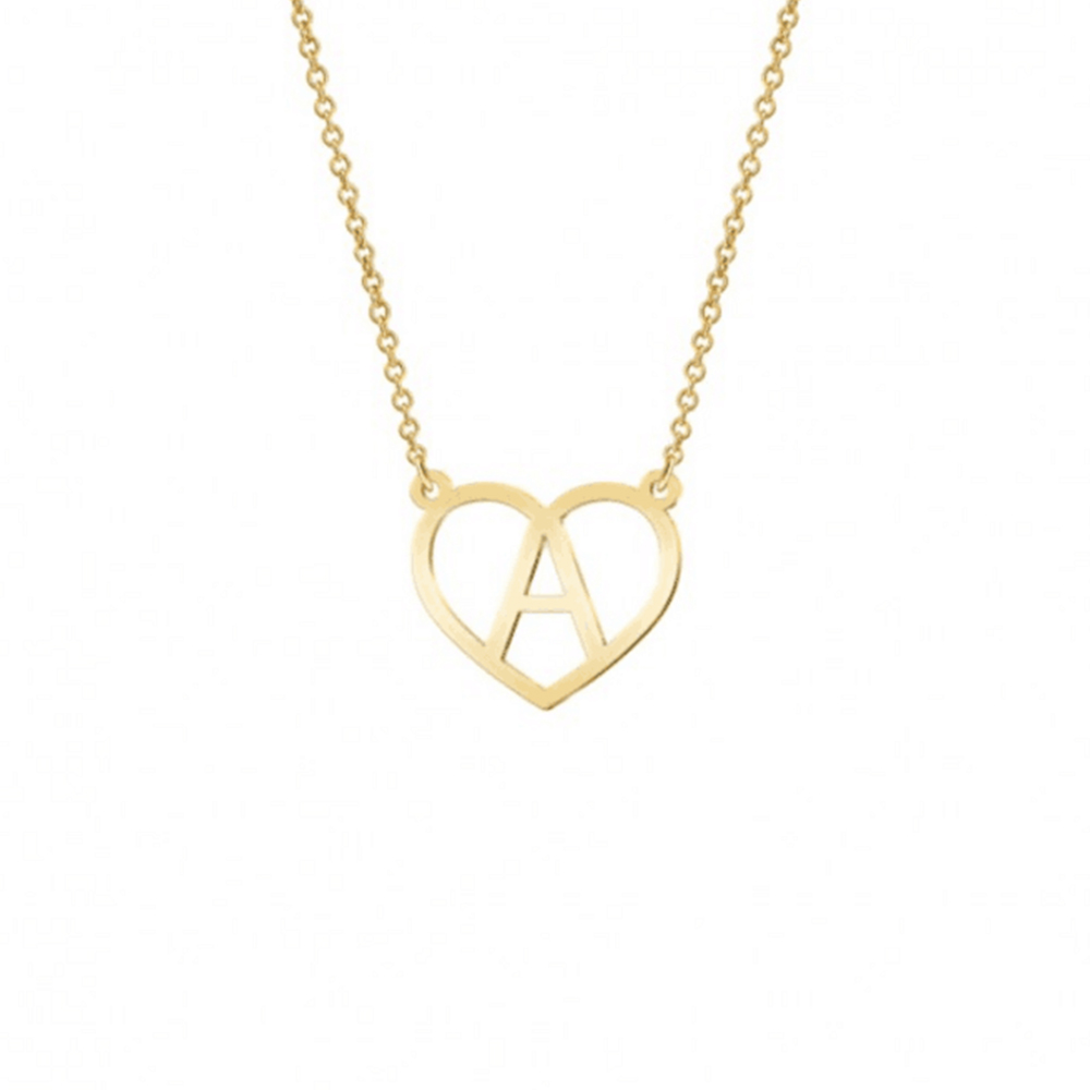 Gold Color Hollow Heart Letter A Necklace