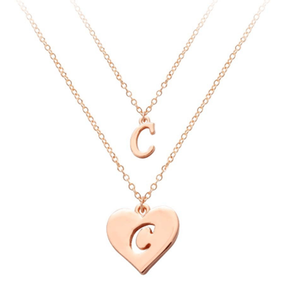Rose Gold color Two Layer Letter Necklace