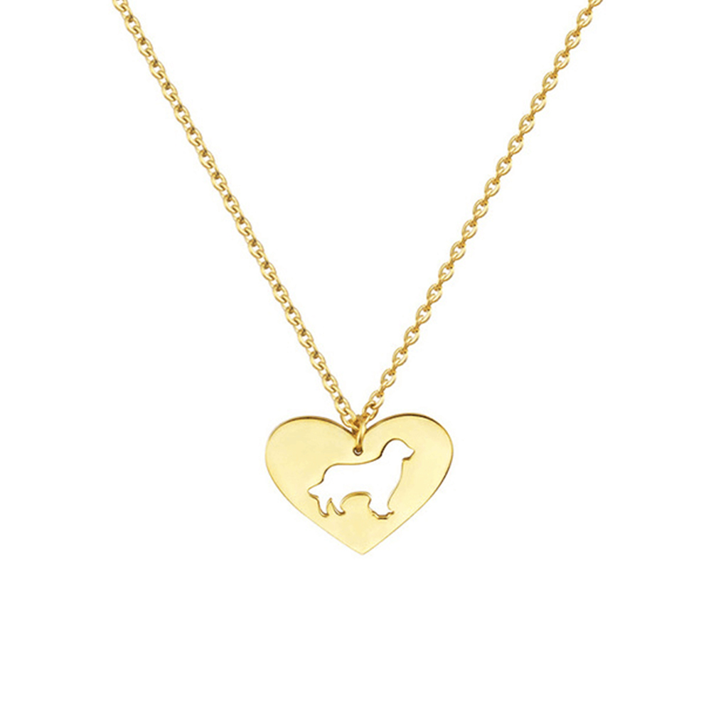 Gold Color Pet Dog Heart Necklace