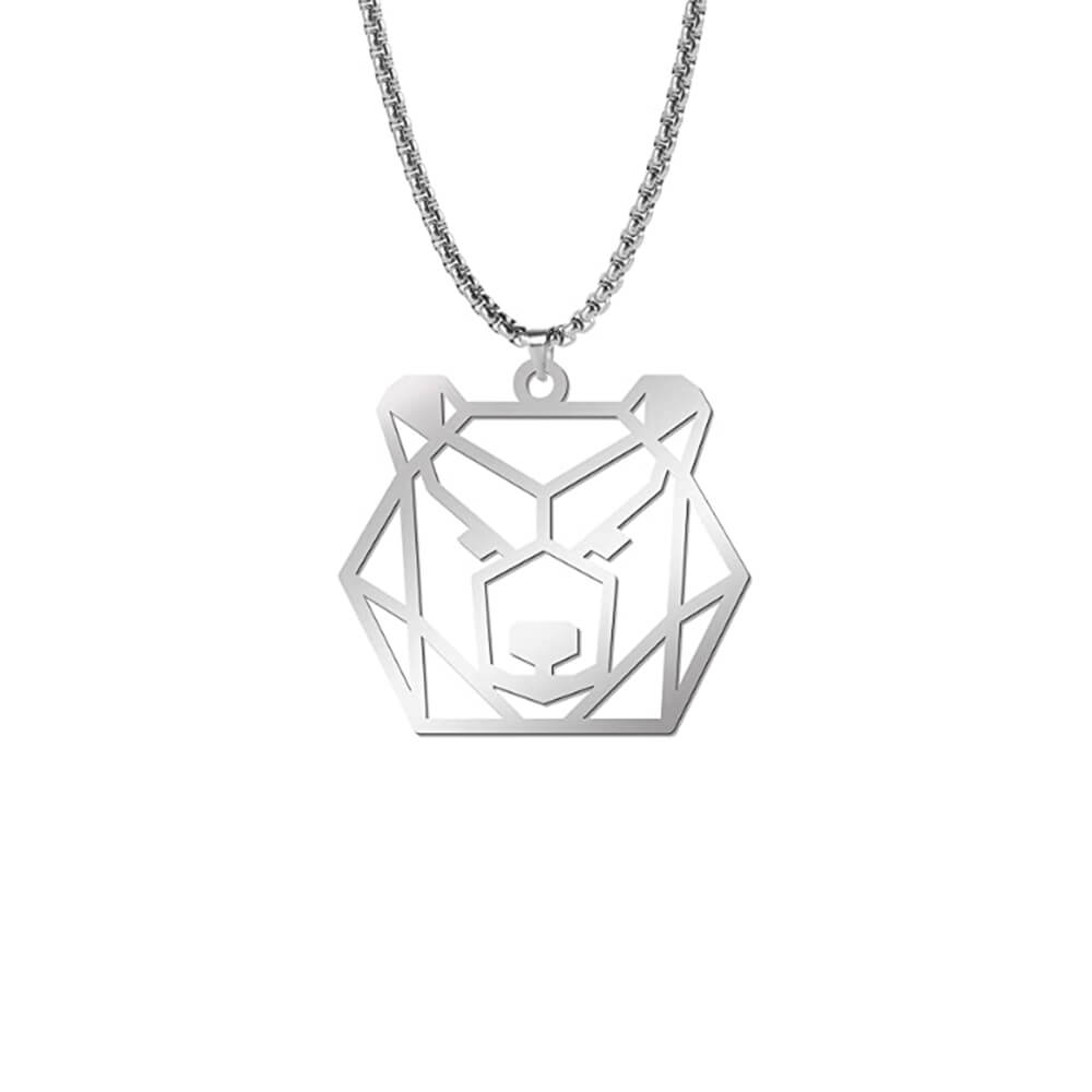 Silver Color Bear Pendant Necklace