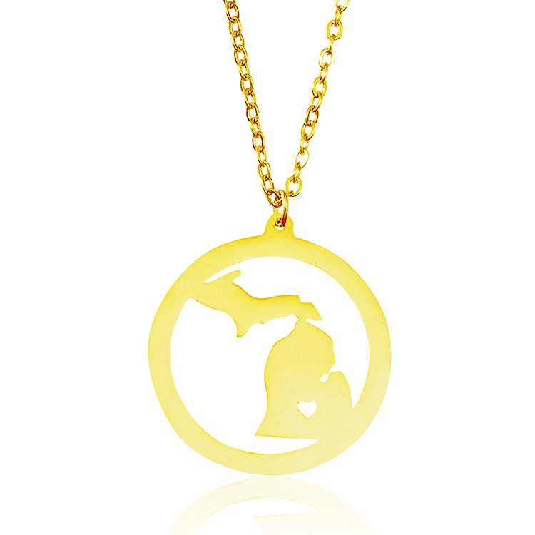 Gold Color Michigan Map Necklace