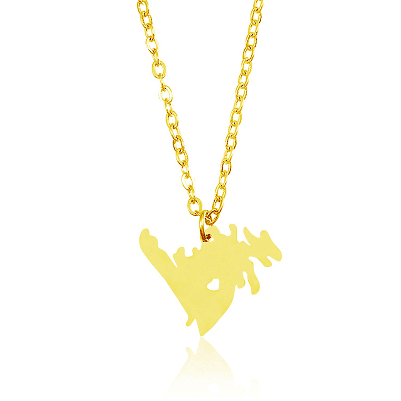 Gold Color Canada Map Pendant Necklace