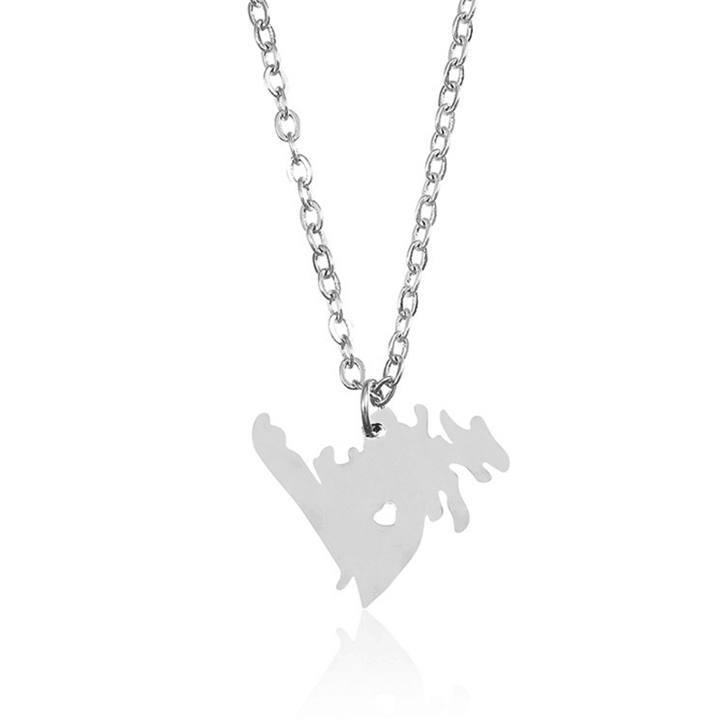 Silver Color Canada Map Pendant Necklace